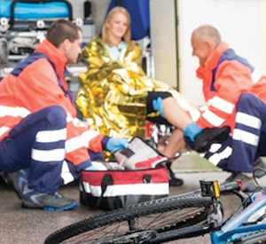 Crushed Bike in Foreground, Woman in Ambulance