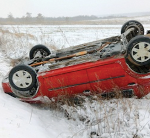 Overturned Red SUV